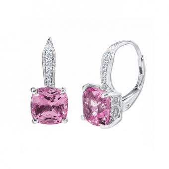 Round Fiery Created Pink Opal Stud Earrings